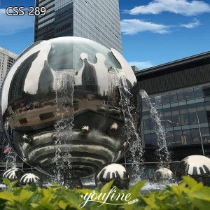 Outdoor Giant Hollow Ball Metal Water Fountain Sculpture for Sale