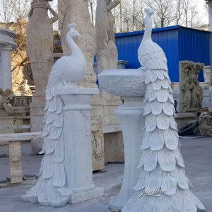 Wholesale Natural Marble Large Peacock Statue