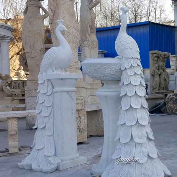 Wholesale Natural Marble Large Peacock Statue You Fine