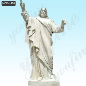 Life Size Marble Stone Jesus with Angels Statue for Outdoor Decoration MOKK-426