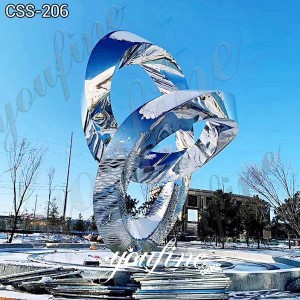Large Double Mobius Strip Sculpture Modern Art Abstract Stainless Steel for Sale CSS-206