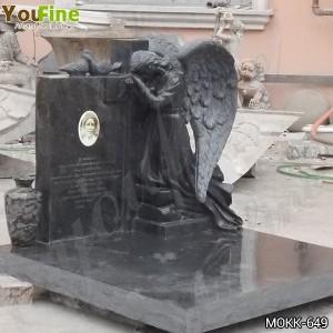 Black Granite Memorial Headstone Grave Angel Ornaments Manufacture MOKK-649