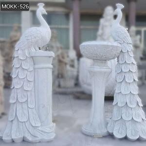 Hot Sale Natural Stone White Marble Peacock Flowerpot for Garden MOKK-526