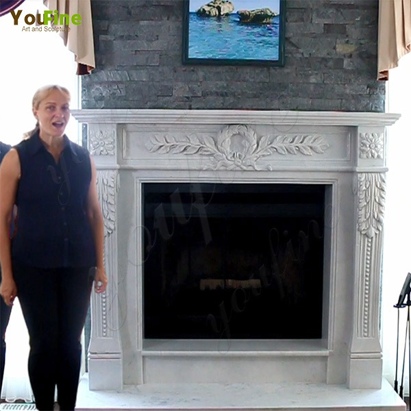 Greet Feedback on Modern White Marble Fireplace Mantel from Our Canadian Friends