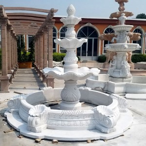 Classical outdoor white marble water garden 3 tiers fountain for sale MOKK-96