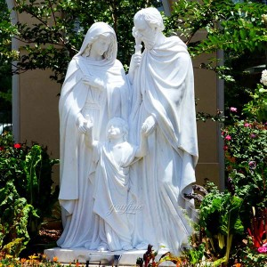 Handcarved White Marble Holy Family Statue Holy Family Outdoor Statue