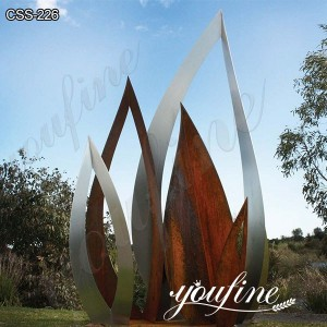 Corten Steel Garden Sculpture Metal Art Flower Designs for Sale CSS-226