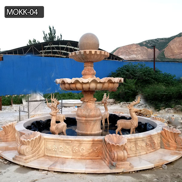 Light red marble yard decoration tiered water fountain for sale MOKK-04 Featured Image