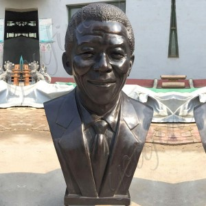 Bronze Bust Statues of Nelson Rolihlahla Mandela Decorative Bust Sculptures for Home BOKK-516