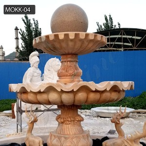 Light red marble yard decoration tiered water fountain for sale MOKK-04
