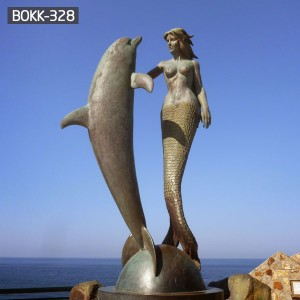 Life Size Bronze Mermaid Statue with Dolphin Sculpture for Sale — BOKK-328