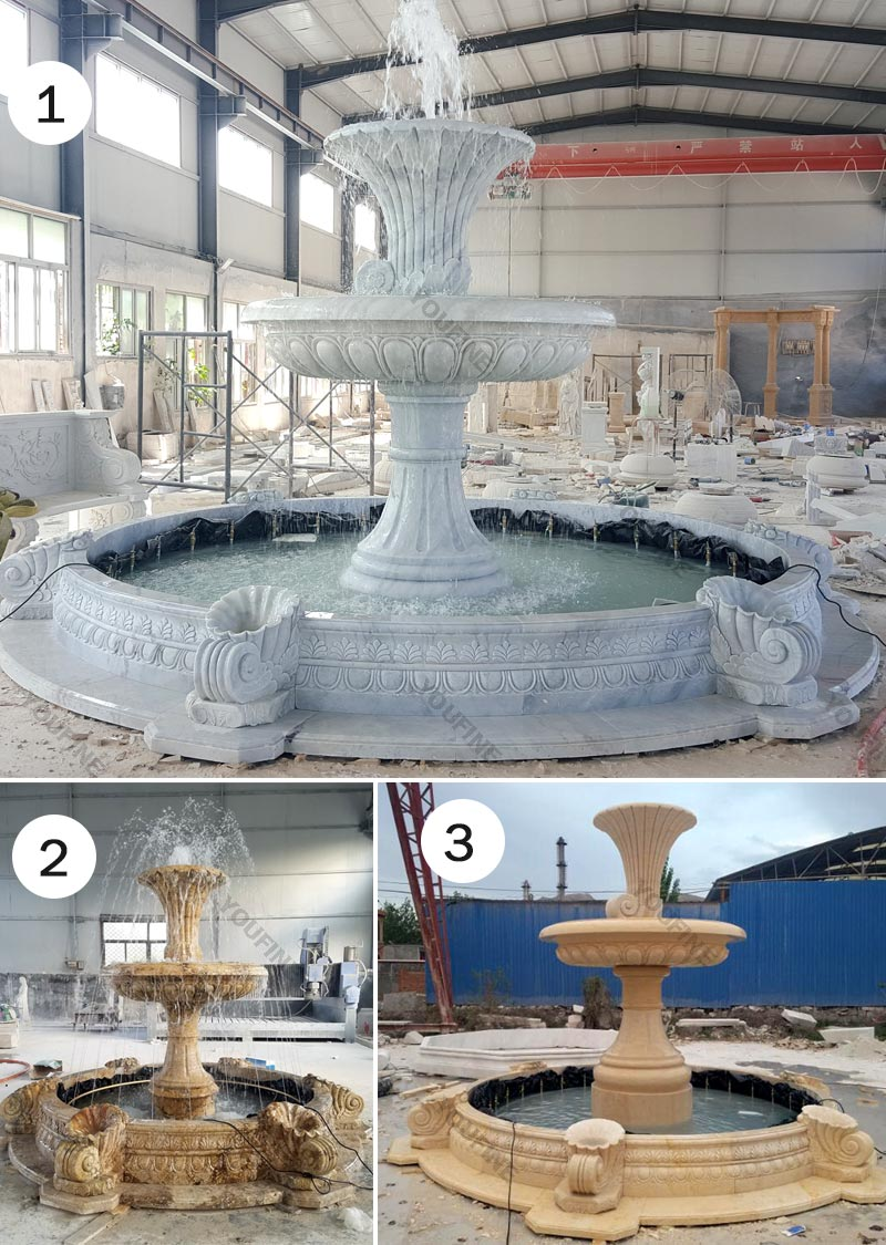 hot selling two tiered life size pure white marble fountain for garden decor for sales