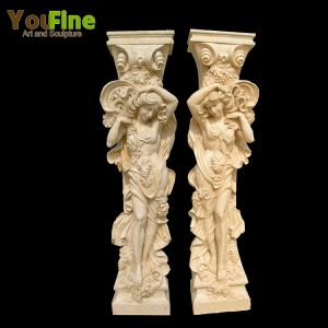 Decorative hand carved marble lady statue column for sale