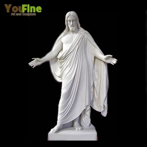 Hand Carved White Marble Jesus Statue For Sale