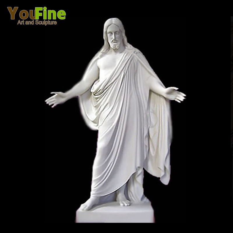 Hand Carved White Marble Jesus Statue For Sale Featured Image