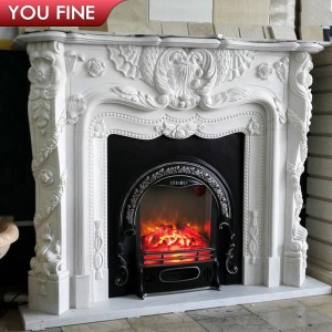 Hand carved french style white marble fireplace mantels for sale