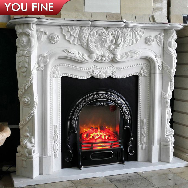 Hand carved french style white marble fireplace mantels for sale ... 156454bd9e