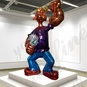 Stainless steel cartoon character popeye the sailor statue for sale CSS-87