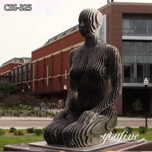 Modern Stainless Steel Kneeling Man Sculpture Campus Decor for Sale
