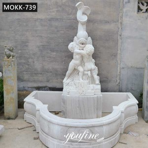 Hand Carved Garden Marble Fountain with Boy Holding Fish for Sale MOKK-739