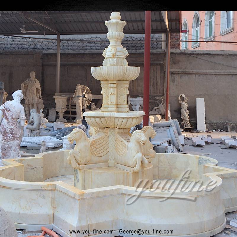 Hand carved yellow marble water fountains with horse statues Featured Image