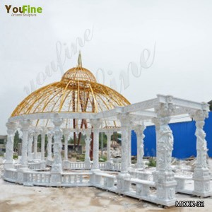 Outdoor Decorative Garden Luxury Stone Gazebo for sale MOKK-32