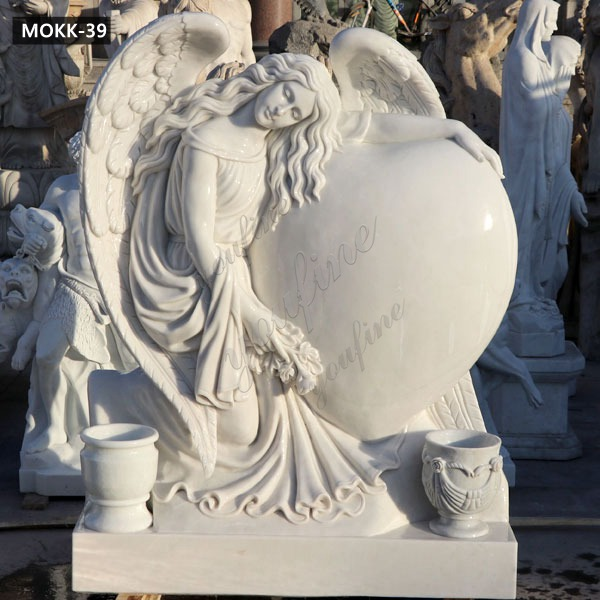 Hand carved Beloved Angel Marble Headstone with Heart Factory Supply MOKK-39 Featured Image