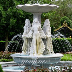 Outdoor large garden white stone water fountain with woman statue for sale