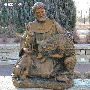 Buy Life Size Religious Bronze St. Francis Sculpture for Wholesale Price BOKK-139