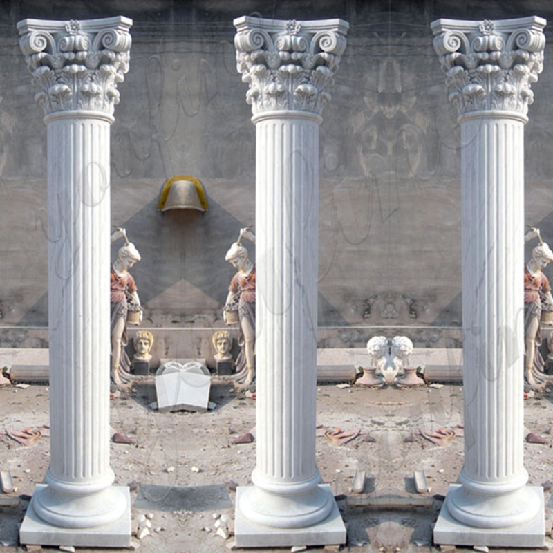 White marble greek column corinthian order round fluted wedding columns for sale craigslist ceremony decoration design MOKK-149_副本
