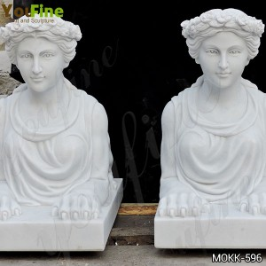 Hand Carved Outdoor White Marble Female Sphinx Statue for Garden for Sale MOKK-596