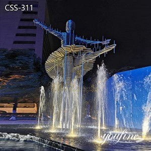 Giant Metal Sculpture Water Fountain Dancing Lady Plaza Decor for Sale