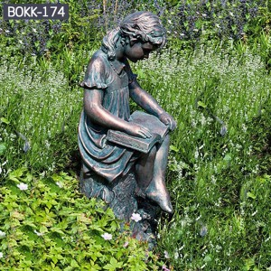 Custom Made Statues Custom Garden Statues Metal Yard Decorations of Reading Girl BOKK-174