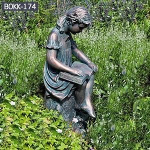 Custom Made Statues Custom Garden Statues Metal Yard Decorations of Reading Girl BOKK-174