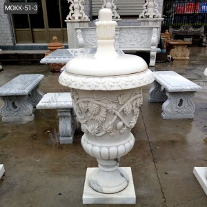 Hand Carved Round Natural Stone Marble Flower Pot with Hat Factory Supply MOKK-51-3