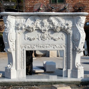 Hand carving european style marble fireplace mantel MOKK-106