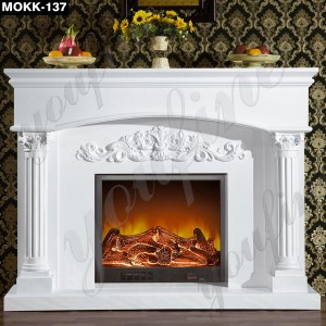 White Color Natural Stone Fire Surround MOKK-137
