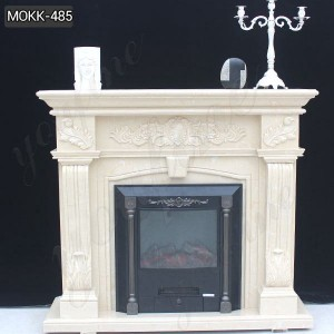 Buy New Design Cheap Beige Marble fireplace Surround in Factory Price MOKK-485