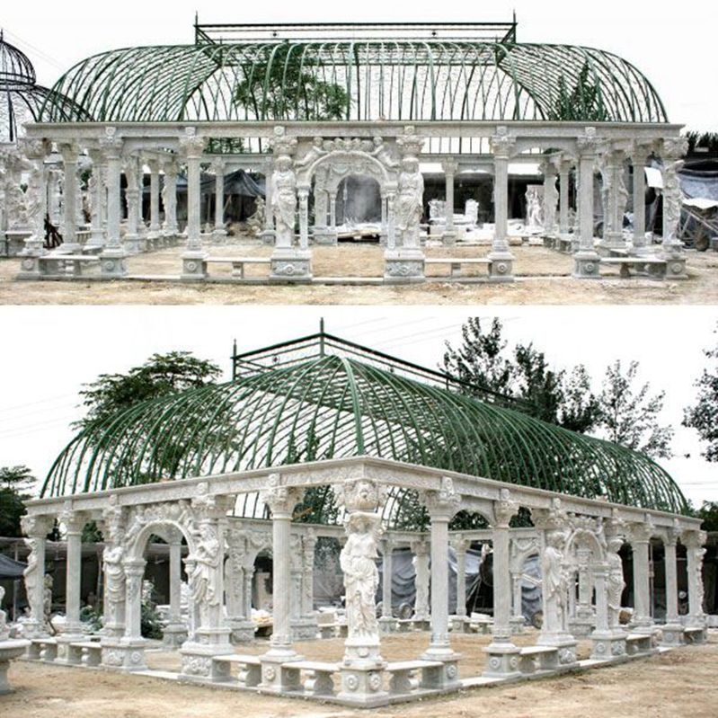 white marble pavilion gazebo with elegant  woman statue for wedding ceremony decoration for sale