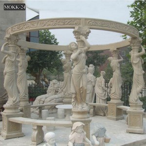 Garden western natual marble large gazebo for sale MOKK-24