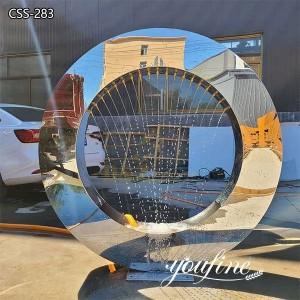 Outdoor Metal Water Fountain Mirror Loop Sculpture for Sale CSS-283
