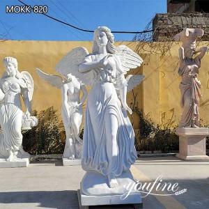 Life-size White Marble Angel Statue for Garden Decor for Sale MOKK-820