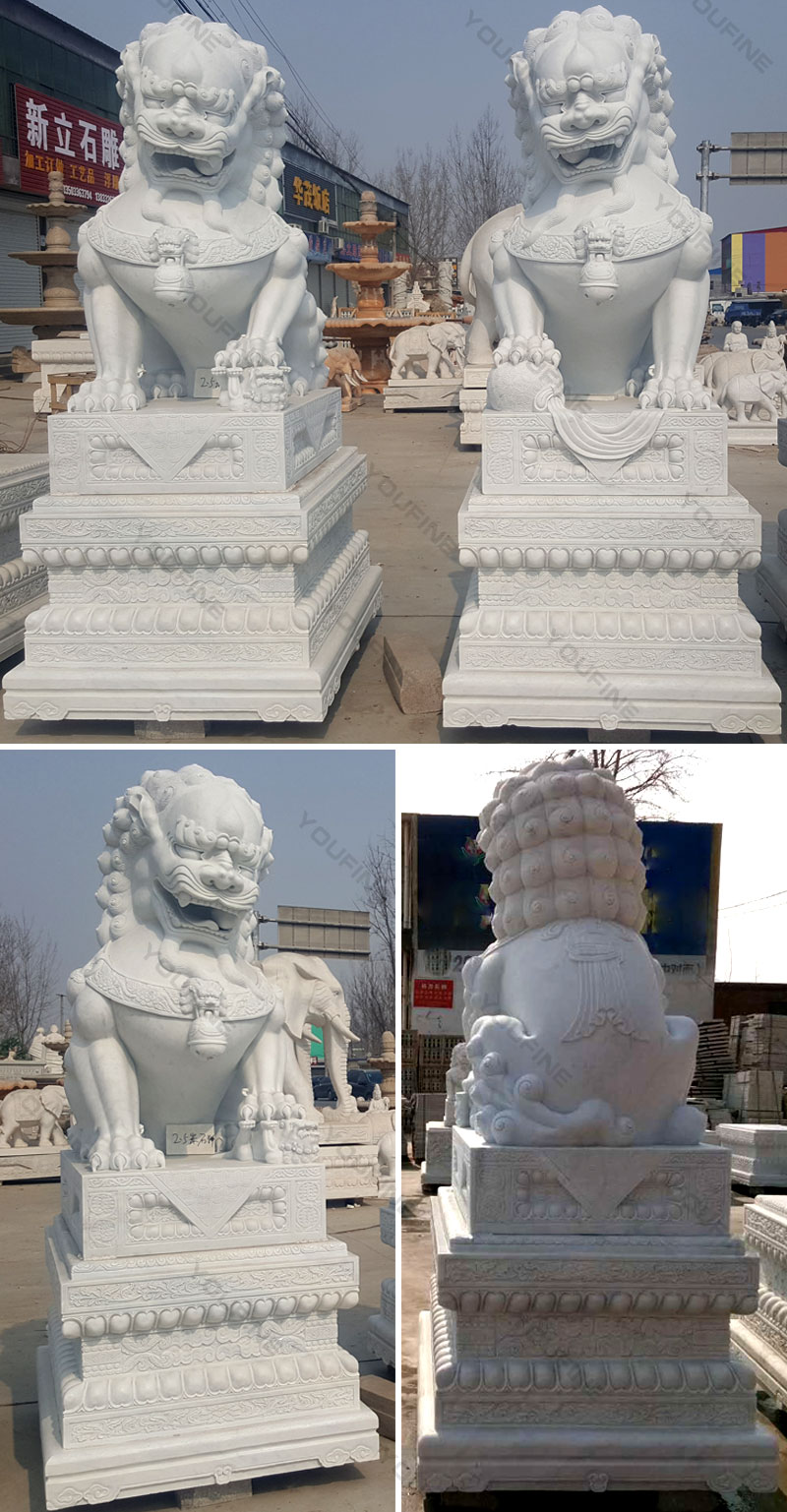 guardian lion white marble foo dog statues for sale for driveway
