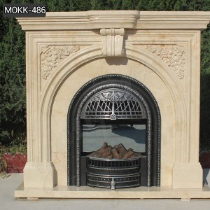Hot Sale Victorian Style Beige Hand Carved Marble Fireplace for Home Decor MOKK-486