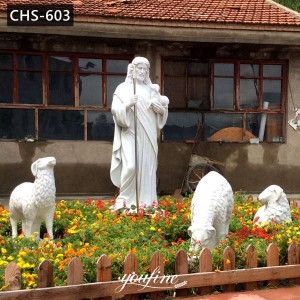 Life Size Jesus Marble Statue with Shepard for Sale CHS-603