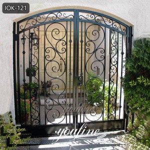 High Quality Wrought Iron Outdoor Front Gate for Home Decor for Sale IOK-121