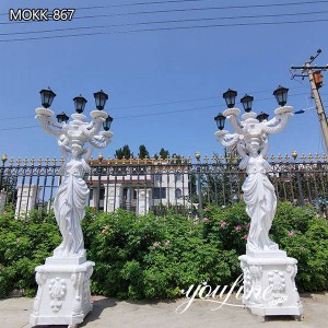 Natural White Mable Antique Statue Lamp from Factory Supply MOKK-867