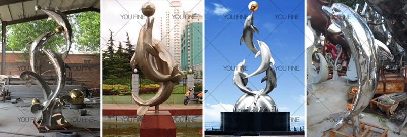 metal dolphin statue-2