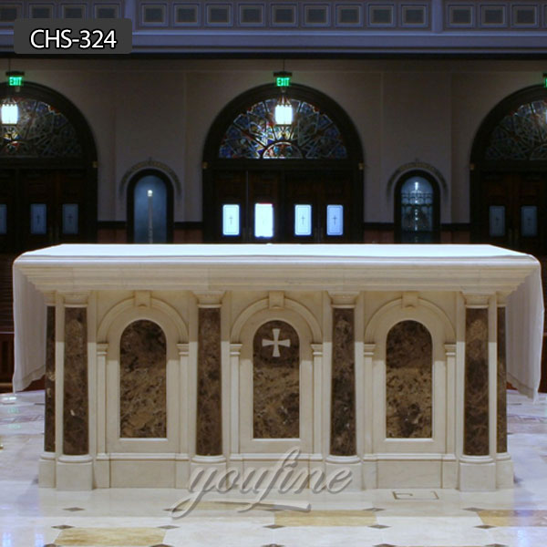White Marble Altar Table catholic home altars for sale CHS-324 Featured Image