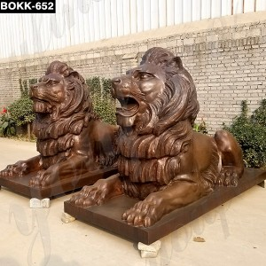 Copper Guardian Lion Statue BOKK-652
